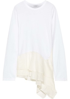 Clu Woman Asymmetric Organza-paneled Cotton-jersey Top White