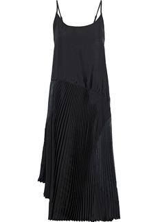 Clu Woman Asymmetric Pleated Satin-twill And Metallic Crepe Midi Dress Black