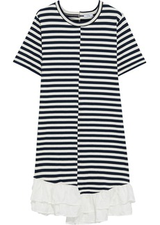 Clu Woman Asymmetric Ruffle-trimmed Striped Cotton-jersey Dress Navy