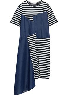 Clu Woman Asymmetric Striped Cotton-jersey And Tencel-chambray Dress Navy