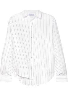 Clu Woman Asymmetric Striped Cotton-poplin Shirt White