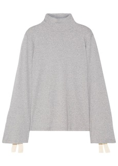 Clu Woman Bow-embellished Cotton-blend Jersey Turtleneck Top Light Gray