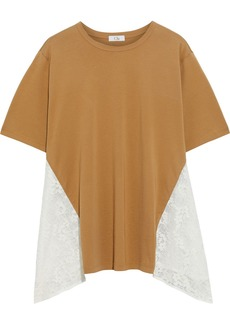 Clu Woman Corded Lace-paneled Cotton-jersey T-shirt Beige