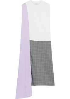 Clu Woman French Cotton-terry Satin-twill And Prince Of Wales Checked Woven Dress White