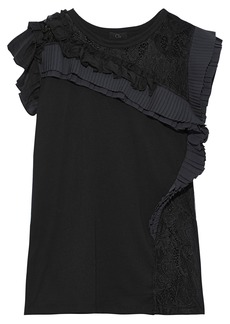 Clu Woman Lace-paneled Pleated Ruffled Cotton-jersey Top Black