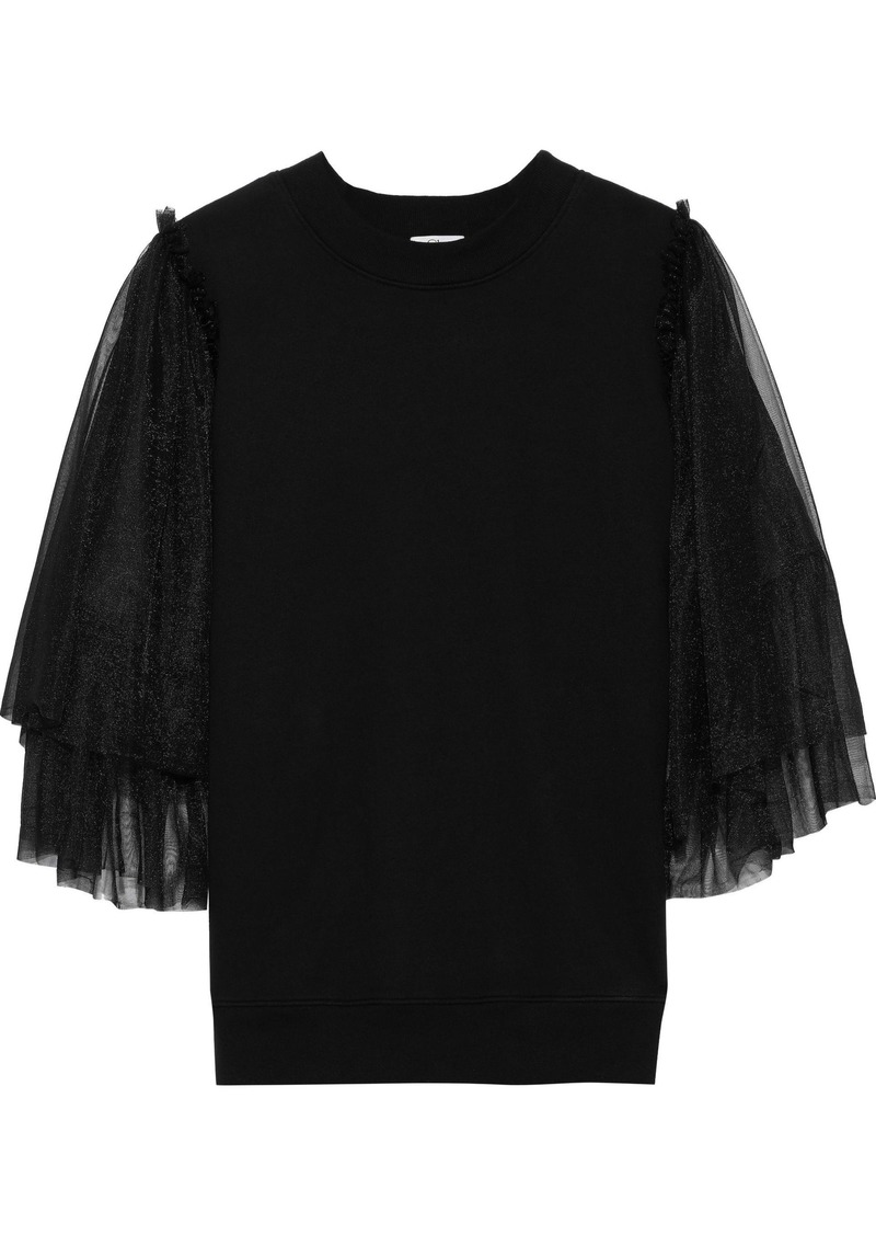 Clu Woman Layered Tulle-paneled French Cotton-terry Top Black