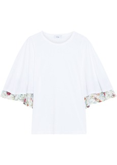 Clu Woman Layered Cotton-jersey And Floral-print Voile Top White