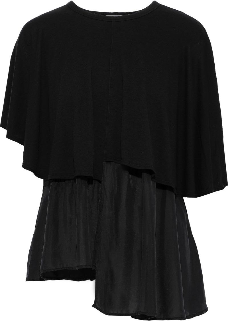Clu Woman Layered Organza-paneled Cotton And Modal-blend Jersey Top Black