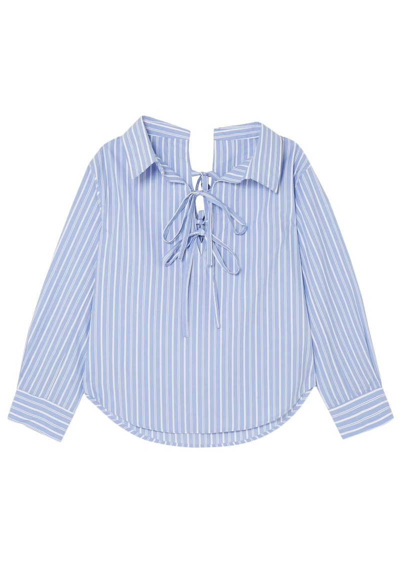 Clu Woman Off-the-shoulder Striped Cotton And Tencel-blend Shirt Light Blue