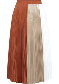 Clu Woman Paneled Pleated Twill Lamé And Voile Midi Skirt Brick