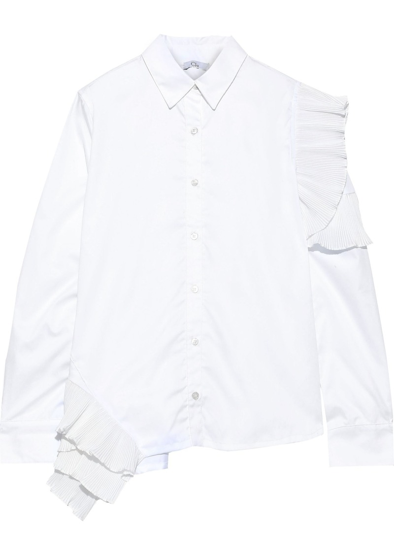 Clu Woman Pleated Ruffle-trimmed Cotton-poplin Shirt White