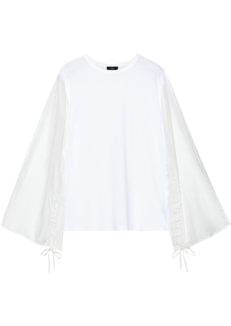 Clu Woman Jersey-paneled Cotton And Silk-blend Top White