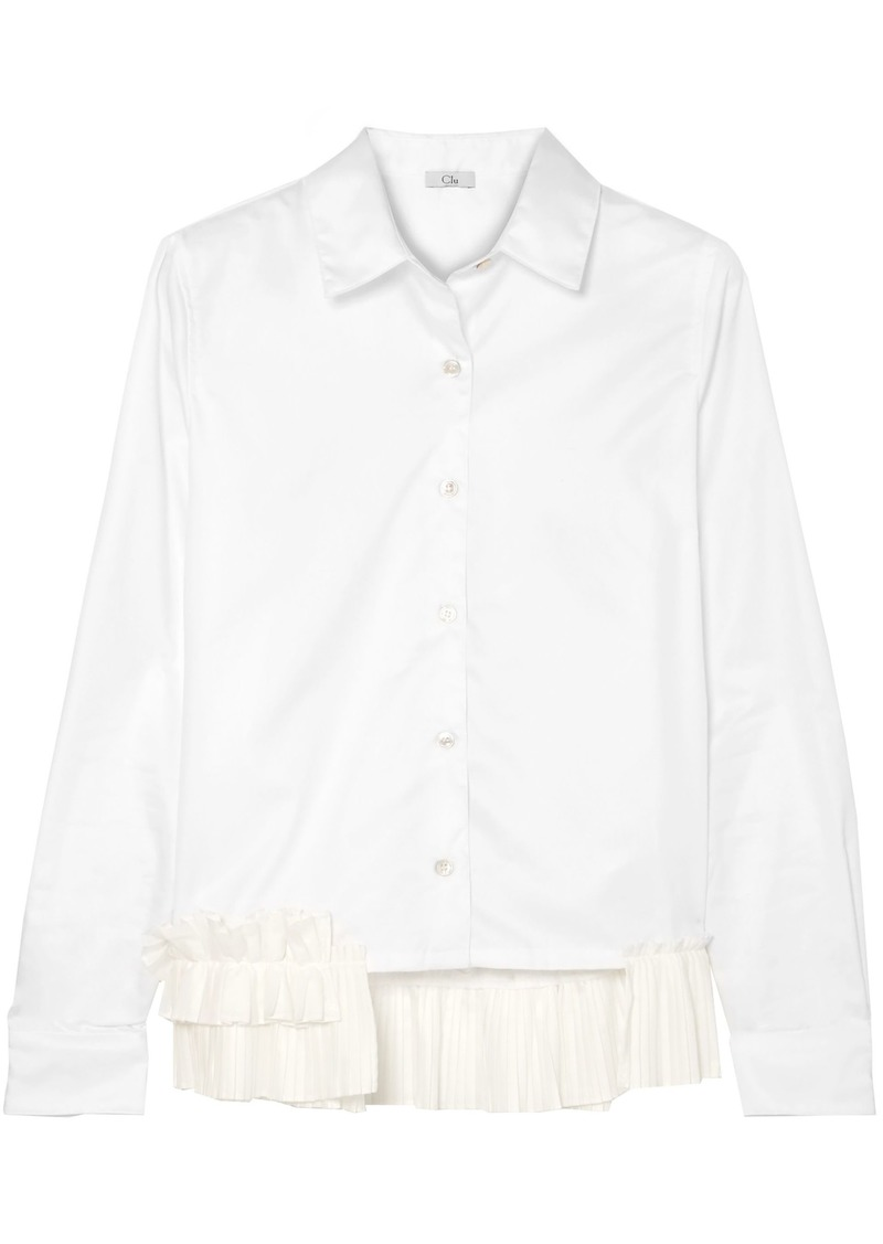 Clu Woman Ruffle-trimmed Cotton-poplin Shirt White