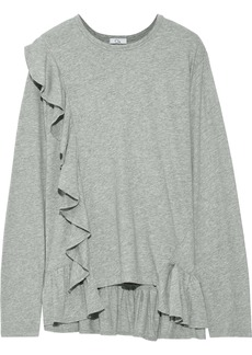 Clu Woman Ruffled Cotton-jersey Top Gray