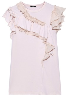 Clu Woman Ruffled Organza-trimmed Cotton And Silk-blend Jersey Top Baby Pink