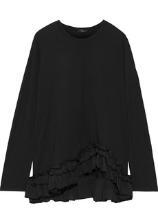 Clu Woman Ruffled Silk-trimmed Cotton-jersey Top Black