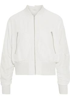 Clu Woman Velvet-appliquéd Cupro-blend Bomber Jacket White