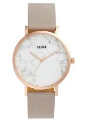 CLUSE La Roche Marble Leather Strap Watch, 38mm