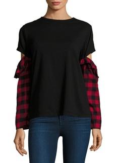 Clu Mixed Media Open-Sleeve Cotton Top