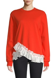 Clu Ruffle Hem Cotton Sweatshirt