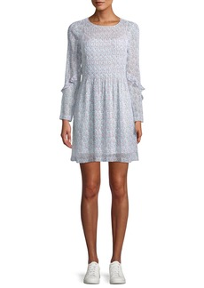 Club Monaco Catira Pleated Mini Floral-Print Silk Dress