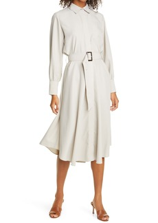 Club Monaco Curved Hem Belted Shirtdress