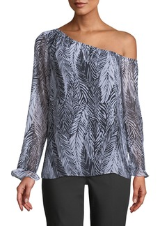 Club Monaco Daphins Palm-Print One-Shoulder Top