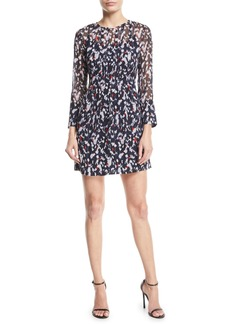 Club Monaco Delaynee Printed Pintuck Silk Short Dress