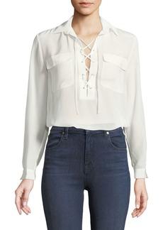 Club Monaco Elizabina Long-Sleeve Lace-Up Silk Blouse