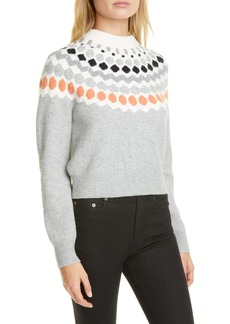 Club Monaco Fair Isle Mock Neck Wool Blend Sweater