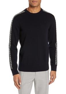 Club Monaco Fair Isle Sleeve Crewneck Wool Sweater