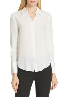 Club Monaco Helek Covered Button Silk Shirt