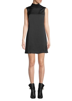 Club Monaco Jourdan Sleeveless Satin Turtleneck Short Dress