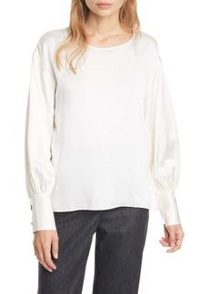 Club Monaco Long Blouson Sleeve Silk Top