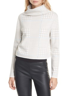 Club Monaco Malika Houndstooth Funnel Neck Sweater