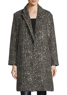 Club Monaco Millennie One-Button Leopard-Print Coat