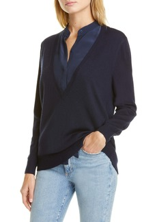 Club Monaco Mixed Media V-Neck Sweater