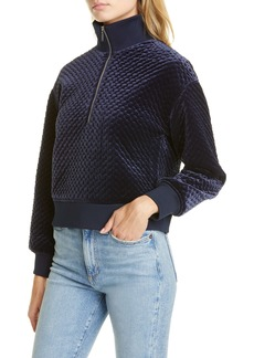 Club Monaco Quilted Velour Half-Zip Pullover