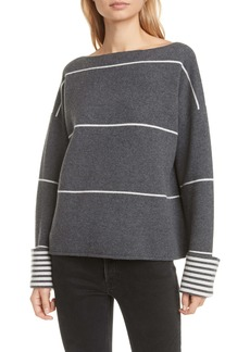 Club Monaco Reversible Stripe Double Knit Cashmere Blend Sweater