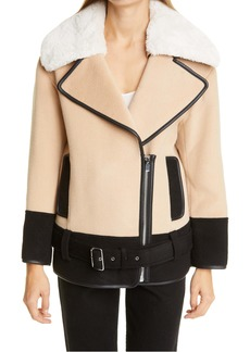 Club Monaco Rismah Wool Blend Faux Fur Collar Coat