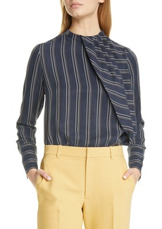 Club Monaco Stripe Asymmetrical Pleat Top