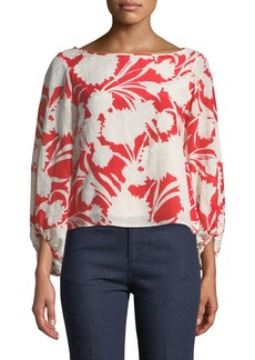 Club Monaco Valterra Floral-Print Long-Sleeve Blouse