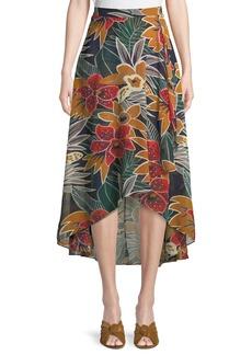 Club Monaco Elianna High-Waist Floral Midi Skirt