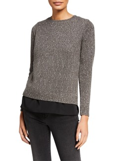 Club Monaco Fuzzy Split-Back Crewneck Sweater