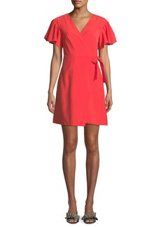 Club Monaco Geovanna Flutter-Sleeve Wrap Dress