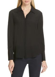 Women's Club Monaco Helek Covered Button Silk Shirt