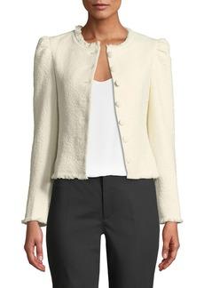 Club Monaco Milah Textured Puff-Shoulder Cropped Jacket