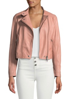 Club Monaco Rowlen Zip-Front Leather Moto Jacket