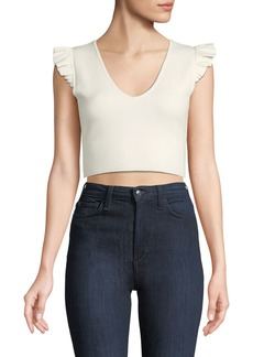 Club Monaco Scoobalyn Cropped Ruffle Cap-Sleeve Sweater