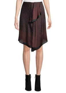 Club Monaco Selleenyah Scarf-Print Asymmetrical Skirt